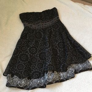 Free people black blue floral strapless dress 8